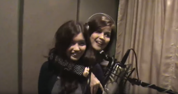 Donna with Belle in the recording studio